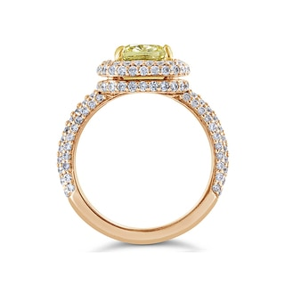 14k Rose Gold Certified 3 1/3ct TDW Fancy Yellow and White Diamond Halo Ring (G-H, SI1-SI2)