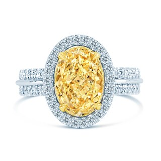 18k Two-tone Gold 4 1/10ct TDW Fancy Yellow and White Diamond Halo Ring (G-H, SI1-SI2)