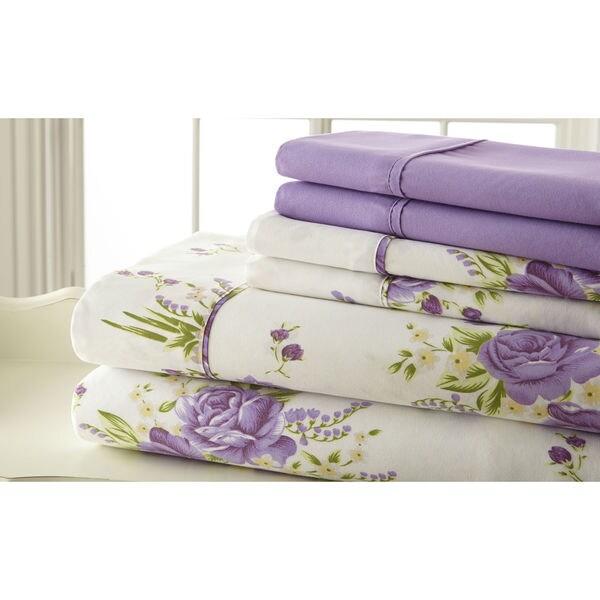 6-piece 100GSM Lavender Floral Printed Sheet Set
