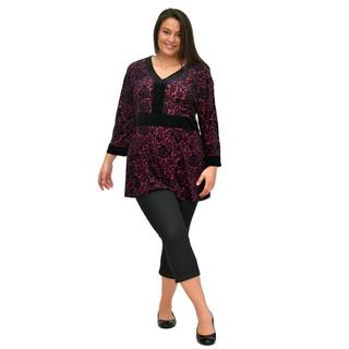 La Cera Women's Plus Size Long-Sleeve Burnout Velour Top