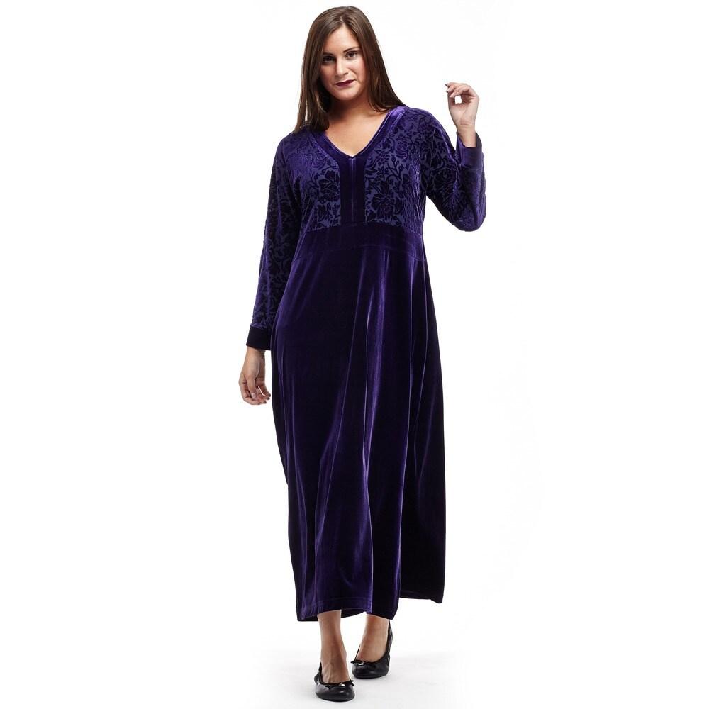 La Cera Womens Long-Sleeve Burnout Velour Gown