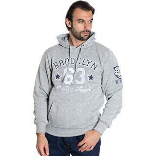 Men's Pull Over Fleece Double Hood 'Brooklyn' Embroidered Sweatshirt