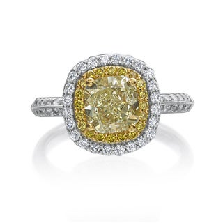 18k White Gold 2 3/4ct TDW Natural Fancy Yellow and White Diamond Ring By Life More Dazzling