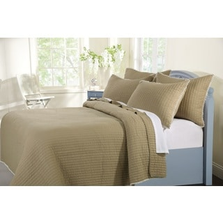 Greenland Home Fashions  Pom Pom Sand Cotton 3-piece Quilt Set
