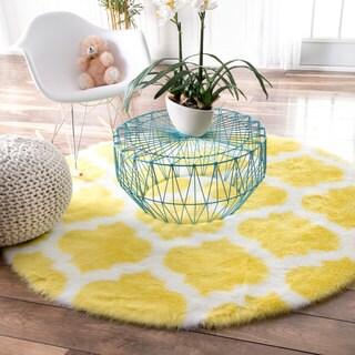 nuLOOM Cozy Soft and Plush Faux Sheepskin Tellis Shag Kids Nursery Yellow Rug (5' Round)