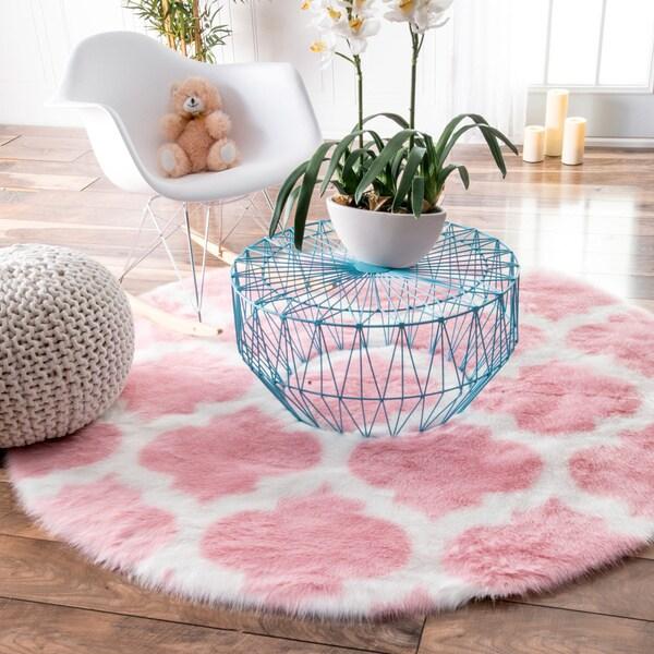 nuLOOM Cozy Soft and Plush Faux Sheepskin Tellis Shag Kids Nursery Pink Rug - 5'