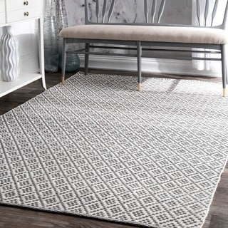 nuLOOM Handmade Flatweave Moroccan Trellis Grey Cotton Rug (9' x 12') (Option: Grey)