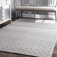 nuLOOM Handmade Flatweave Moroccan Trellis Grey Cotton Rug - 9' x 12'