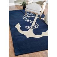 nuLOOM Handmade Anchor Navy Wool Rug - 8'6 x 11'6