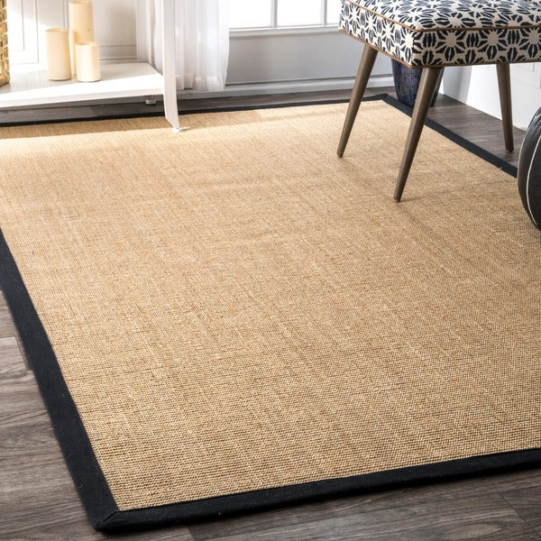 Nuloom Eco Natural Fiber Black Cotton Border Sisal