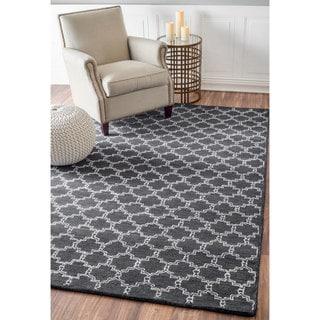 nuLOOM Handmade Modern Star Trellis Wool/ Viscose Charcoal Rug (7'6 x 9'6)