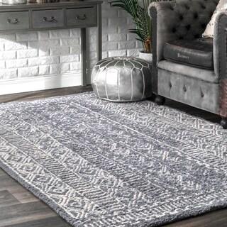 nuLOOM Handmade Diamond Ridge New Zealand/ Indian Wool Grey Rug - 5' x 8'