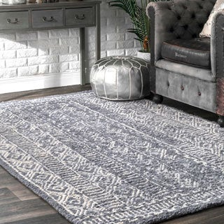 nuLOOM Handmade Diamond Ridge New Zealand/ Indian Wool Grey Rug (7'6 x 9'6)