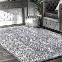nuLOOM Handmade Diamond Ridge New Zealand/ Indian Wool Grey Rug (7'6 x 9'6) - 7' 6 x 9' 6