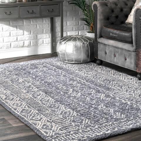 nuLOOM Handmade Diamond Ridge New Zealand/ Indian Wool Area Rug