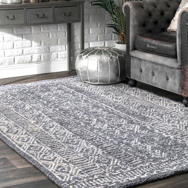 "nuLOOM Handmade Diamond Ridge New Zealand/ Indian Wool Grey Rug (7'6 x 9'6) - 7'6"" x 9'6"""