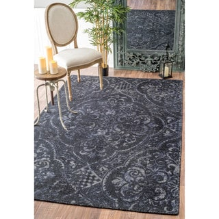 nuLOOM Handmade Country Floral Centerpiece Wool Navy Rug (5' x 8')