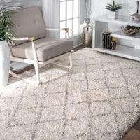 Clay Alder Home Isabella Soft and Plush Moroccan Trellis Natural Shag Area Rug - 4' x 6'