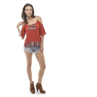Soho Women's Tomato Open Shoulder Tribal Trim Blouse