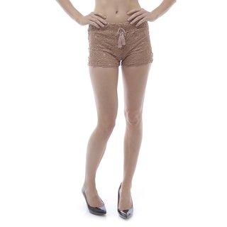 Soho Women's Mocha Elastic Waist Crochet Shorts