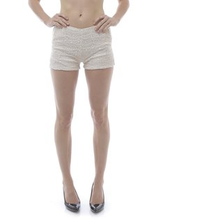 Soho Women's Ivory Fashion Crochet Soft Shorts