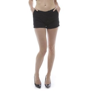 Soho Women's Black Fashion Crochet Soft Shorts