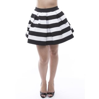 Soho Women's Black Textured Striped Elastic Waist Pleated Skirt