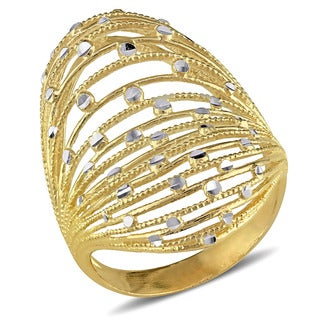 Miadora Signature Collection 18k Yellow Gold Filigree Cocktail Vintage Long Finger Ring