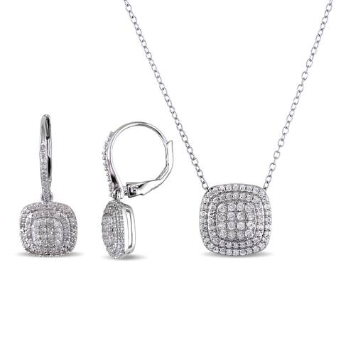 Miadora Sterling Silver 1ct TDW Diamond Cluster Necklace and Earrings Set - White