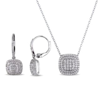 Miadora Sterling Silver 1ct TDW Diamond Cluster Necklace and Earrings Set (H-I, I2-I3)