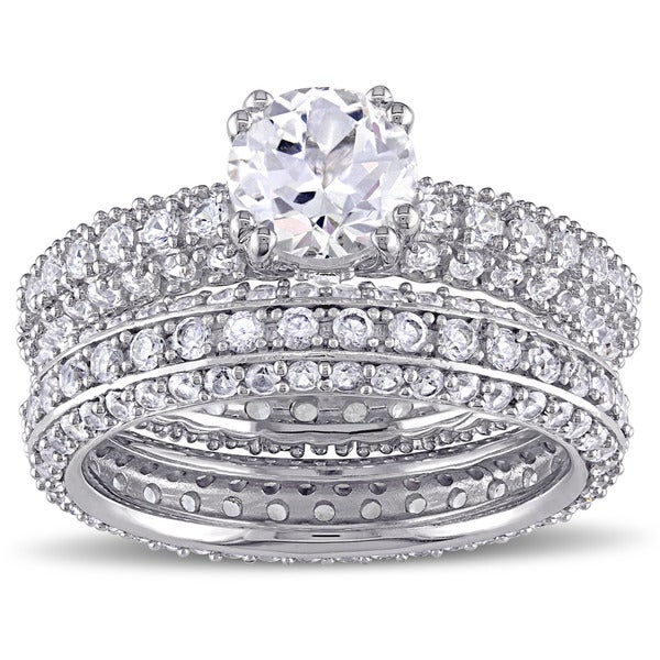 Miadora Sterling Silver Created White Sapphire Bridal Ring Set