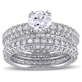 Miadora Sterling Silver Created White Sapphire Bridal Ring Set|https://ak1.ostkcdn.com/images/products/11016485/P18033474.jpg?impolicy=medium