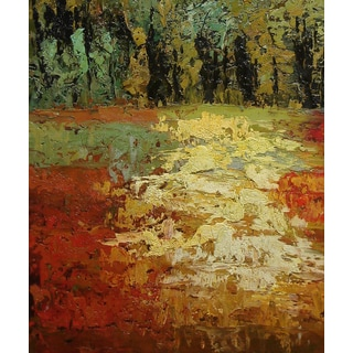 'Autumn Landscape' 20x24 Abstract Impressionist Original Oil Painting Canvas Wall Art