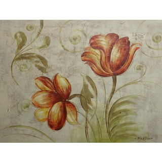 'Decorative Floral' 20x24 Decorative Floral Original Oil Painting Canvas Wall Art