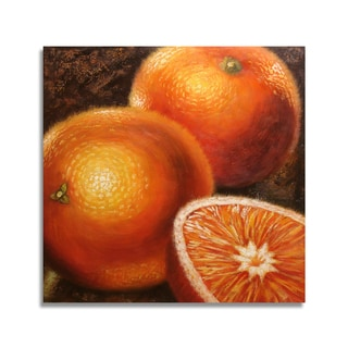 'Modern Oranges' 24x24 Realistic Original Oil Painting Canvas Wall Art