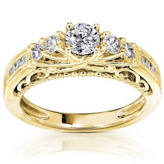 Annello by Kobelli 14k Yellow Gold 3/4ct TDW Round Brilliant Diamond Ring
