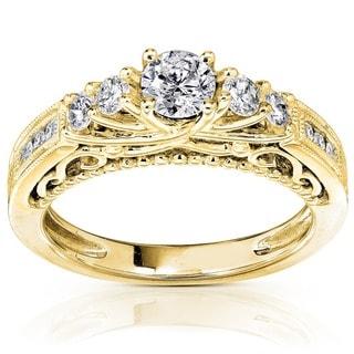 Annello by Kobelli 14k Yellow Gold 3/4ct TDW Round Brilliant Diamond Ring (H-I, I1-I2)