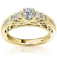 Annello by Kobelli 14k Yellow Gold 3/4ct TDW Round Brilliant Diamond Ring