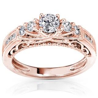Annello by Kobelli 14k Rose Gold 3/4ct TDW Round Brilliant Diamond Ring