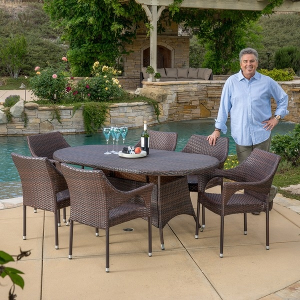 Corsica Outdoor Wicker Oval Dining Table By Christopher Knight Home