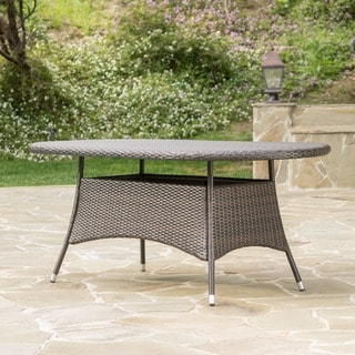 Captivating Corsica Outdoor Wicker Oval Dining Table By Christopher Knight Home