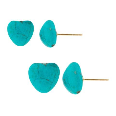Pori Gold-fill Heart-Shaped Genuine Turquoise Stud Earrings