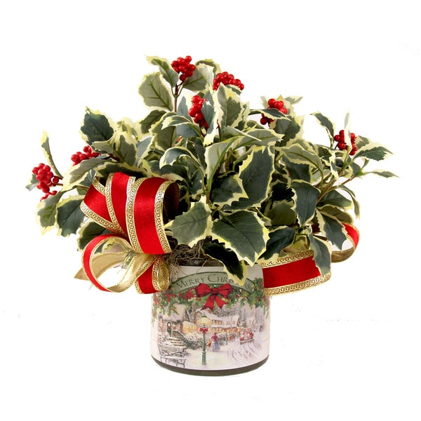 Variegated Holly Christmas Arrangement