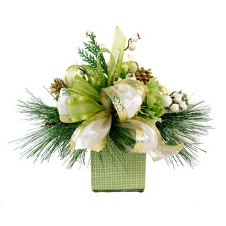 Cream, Green, & Gold Winter Arrangement