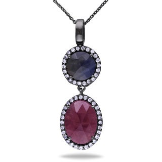 Miadora Sterling Silver Cubic Zirconia and Sapphire Necklace