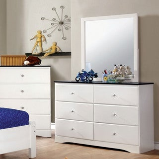 Furniture of America Piers Two-tone Blue/White 2-piece Dresser and Mirror Set
