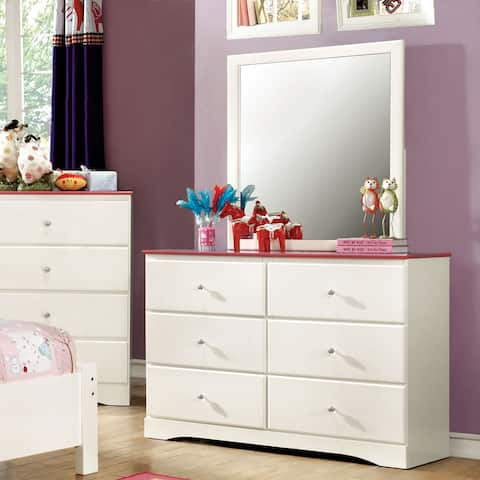 Furniture of America Piers Transitional 2-tone Pink 2-piece Dresser and Mirror