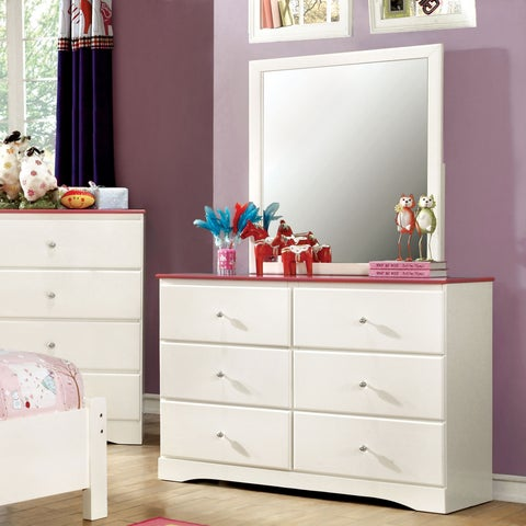 Furniture of America Piers Two-tone Pink/White 2-piece Dresser and Mirror Set