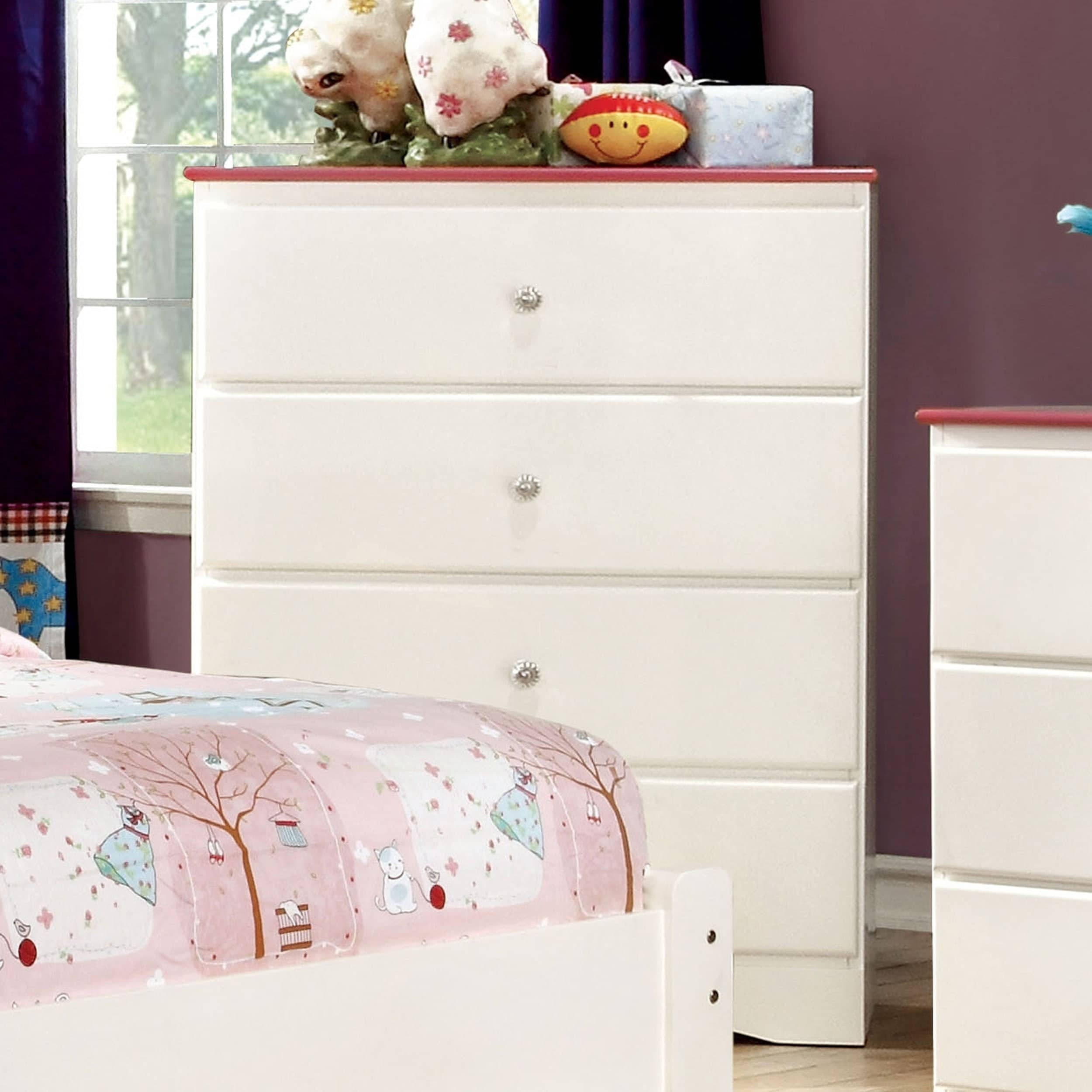 Furniture of America Piers Two-tone Pink/White 4-drawer Y...