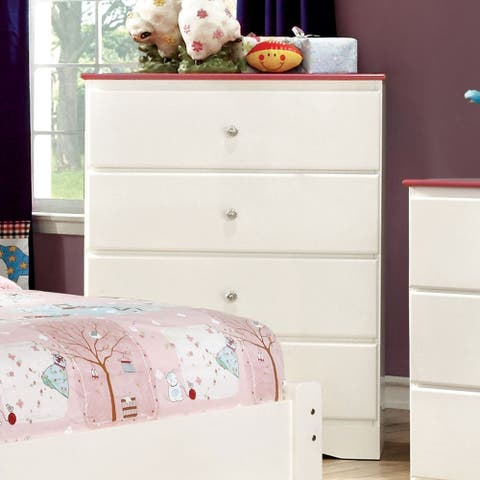 Furniture of America Hoso Transitional Pink Solid Wood 4-drawer Chest